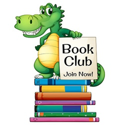 Books and crocodile vector
