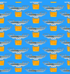 cartoon drone seamless pattern background vector image vector image