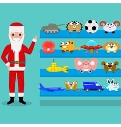Cartoon santa claus shows the toys on the shelf vector