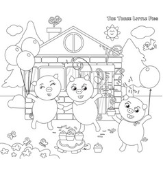 coloring three little pigs folktale happy ending vector image