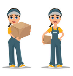 courier woman holding carton box set professional vector image vector image
