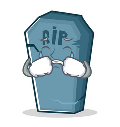 Crying tombstone character cartoon object vector
