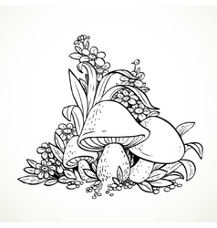 Decorative graphics mushrooms and flowers Black vector image vector image