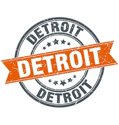 Detroit red round grunge vintage ribbon stamp vector