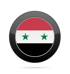 Flag of syria shiny black round button vector