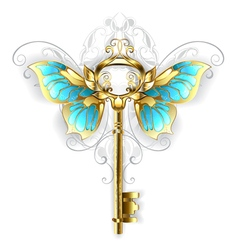 Golden Key with Butterfly Wings vector image