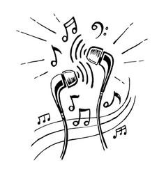 headphones doodle sketch style vector image vector image