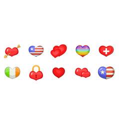 heart icon set cartoon style vector image