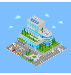 Isometric hospital medical center modern building vector