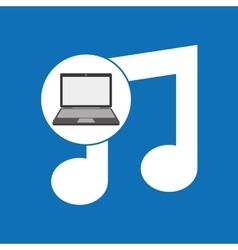 Laptop music note technology vector