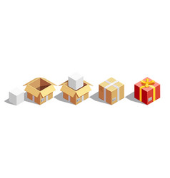 parcel packaging isometric set vector image vector image
