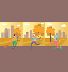 people doing activities on vector image vector image