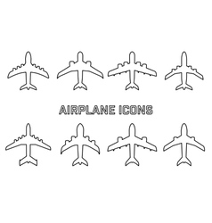 set of different airplane symbols vector image