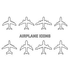 Set of different airplane symbols vector