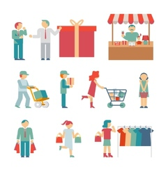 Shopping Characters vector image vector image
