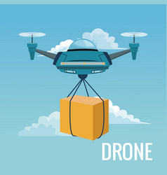 Sky landscape background robot drone carrying box vector