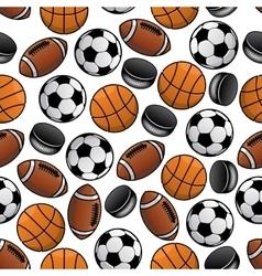Sports balls and pucks seamless pattern vector image vector image