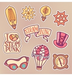 Steampunk patches set vector