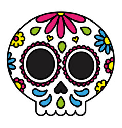 sugar skull colorful floral isolated black outline vector image vector image