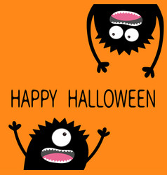 two black screaming monster head silhouette set vector image vector image