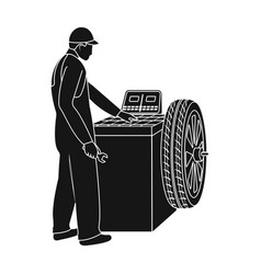 Wheel balancer single icon in black style for vector