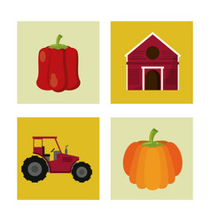 White background with colorful squares with farm vector