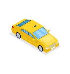 yellow taxi car isolated isometric 3d icon vector image