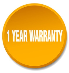 1 year warranty orange round flat isolated push vector