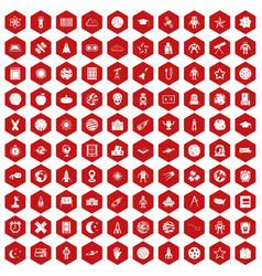 100 astronomy icons hexagon red vector
