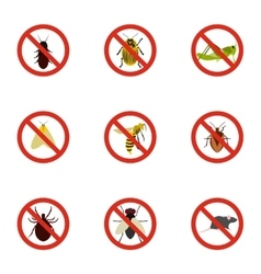 Prohibited insects icons set flat style vector