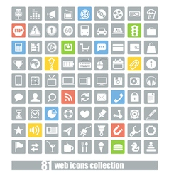 81 Web application icons collection vector image