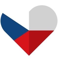 Czech republic flat heart flag vector