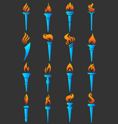torch flame logo templates symbols vector image