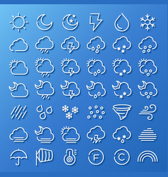 Weather line icon set vector