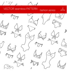 seamless pattern fashion set in hand drawing style vector image