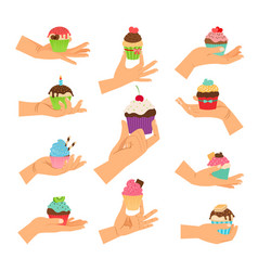 Hands holding decorated cupcakes set vector