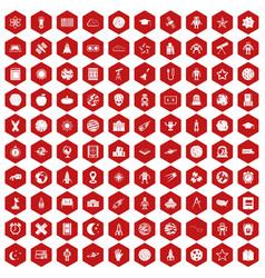 100 astronomy icons hexagon red vector