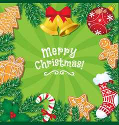 Greeting card banner with christmas decorations vector