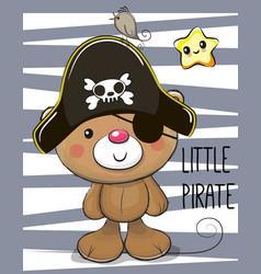 Cute cartoon bear in a pirate hat vector