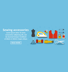 sewing accessories banner horizontal concept vector image