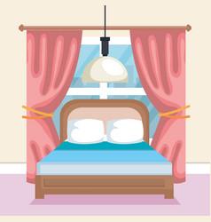 bed room scene icon vector image