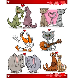Valentine cartoon love set vector