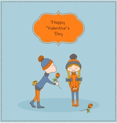 Boy gives flower to a girl valentines day vector