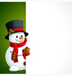 Snowman christmas leaflet vector image