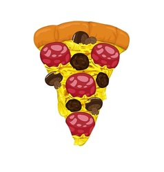 Pepperoni and meatballs on pizza slice vector