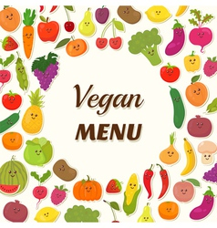 Vegan menu background vegetarian card design cute vector