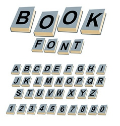 Font book alphabet on covers of books abcs of log vector