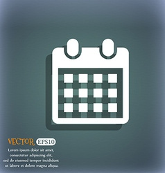 Calendar page icon on the blue-green abstract vector