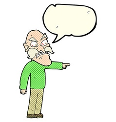 Cartoon furious old man with speech bubble vector