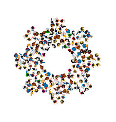 A group of people in a shape of cogwheel icon vector